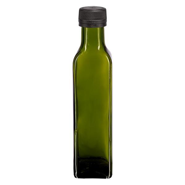 Bouteille d'huile 250 ml carrée, vert olive + capsule à vis noire (PP 31,5 mm), bague anti-gouttes et système d'inviolabilité