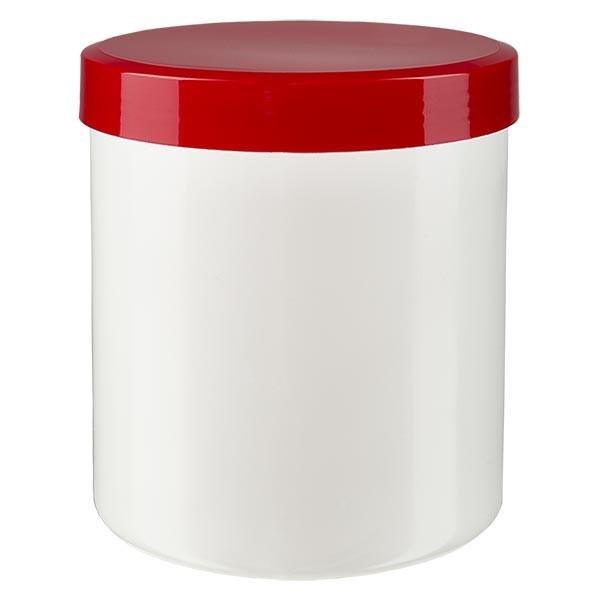 Pot à onguent blanc 50 g avec couvercle rouge (PP)