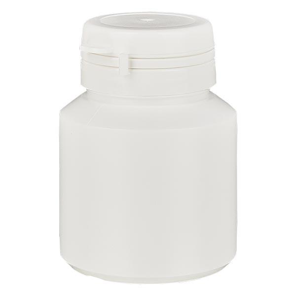 Boîte à comprimés blanche 40ml + Jaycap inviolable blanc