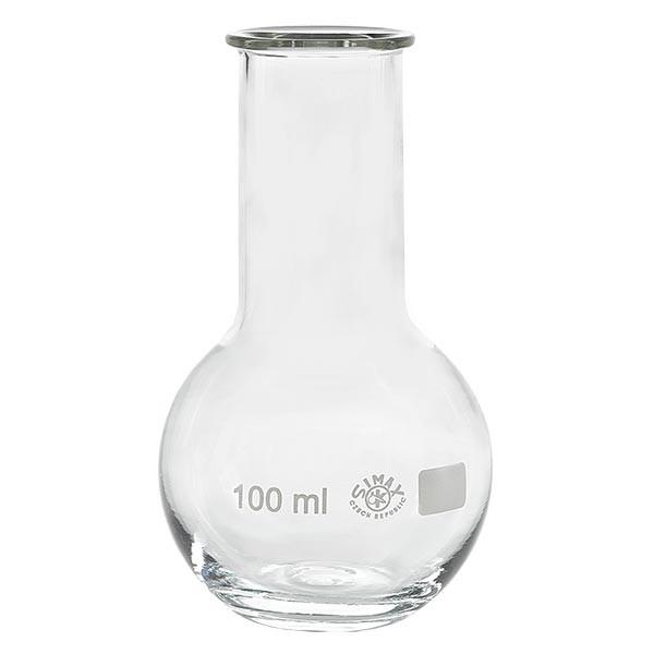 Ballon à fond plat 100 ml à col large, en verre borosilicate avec bord renforcé