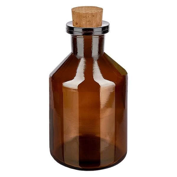 Flacon à col étroit 50 ml en verre ambré + bouchon de liège