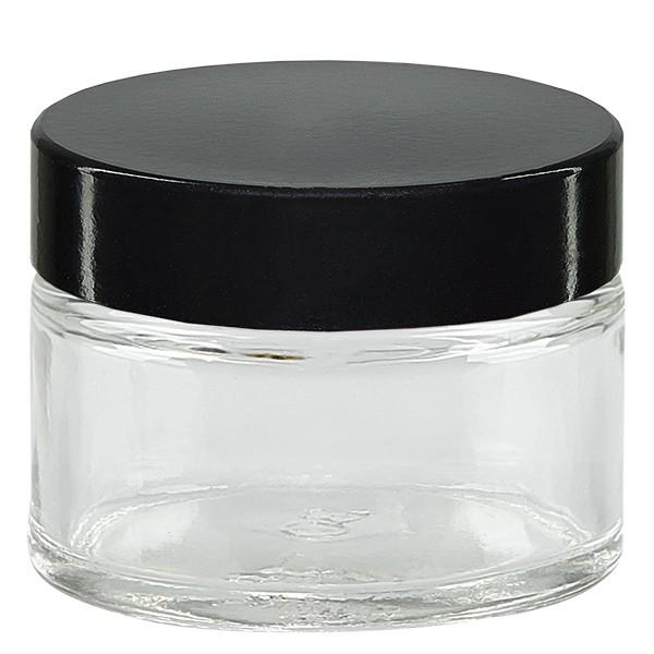 Pot en VERRE CLAIR 15 ml, filetage 38 mm / R3