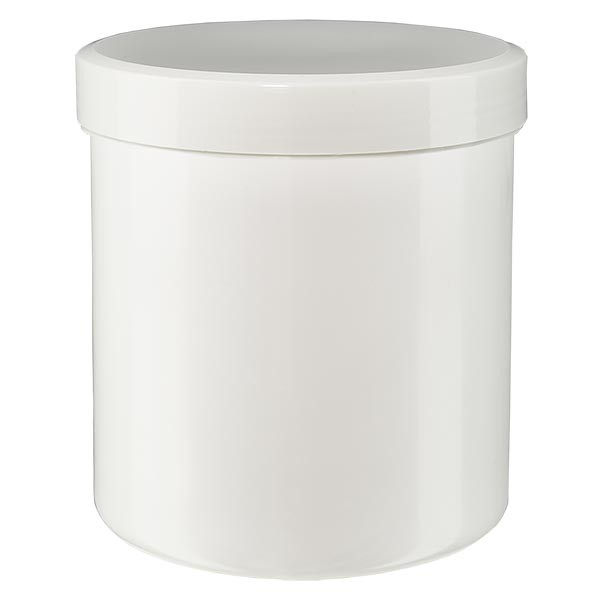 Pot à onguent blanc 20 g avec couvercle blanc (PP)