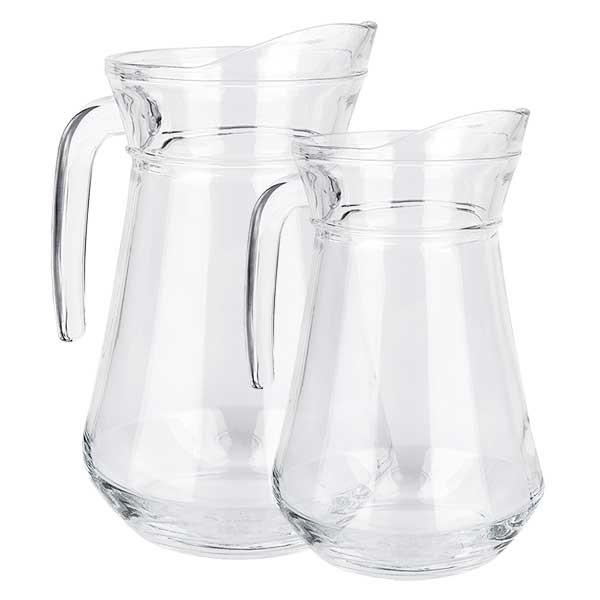 """set de carafes """"France"""" 1 + 1,6 litres en verre clair durci origine française"""