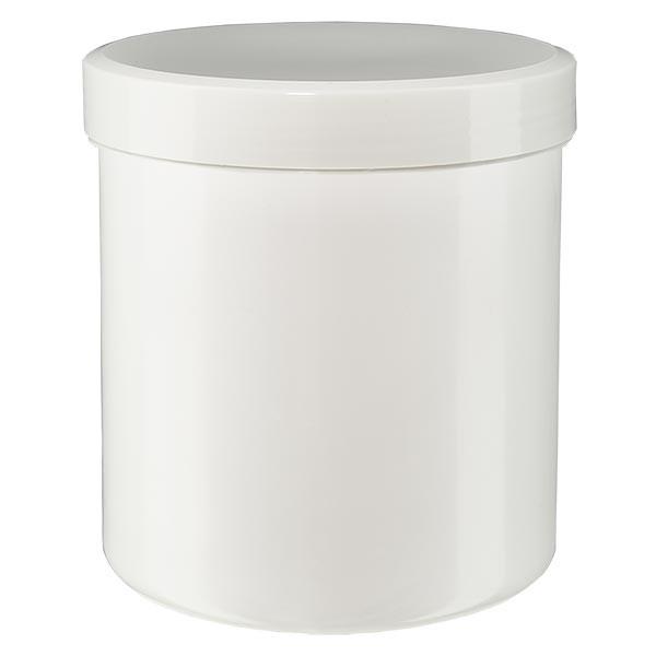 Pot à onguent blanc 50 g avec couvercle blanc (PP)