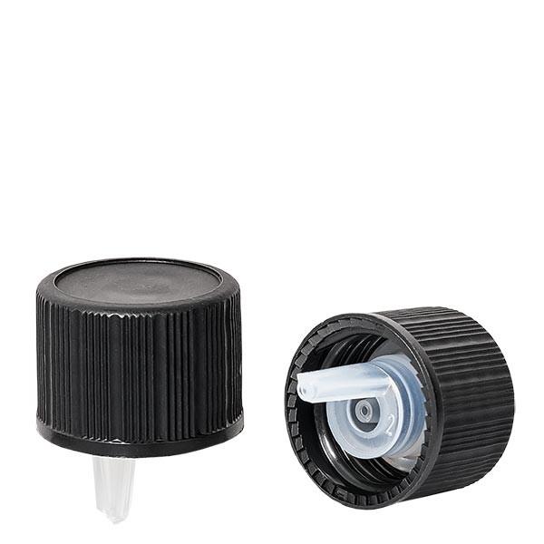 Bouchon compte-gouttes 1mm noir 18mm standard