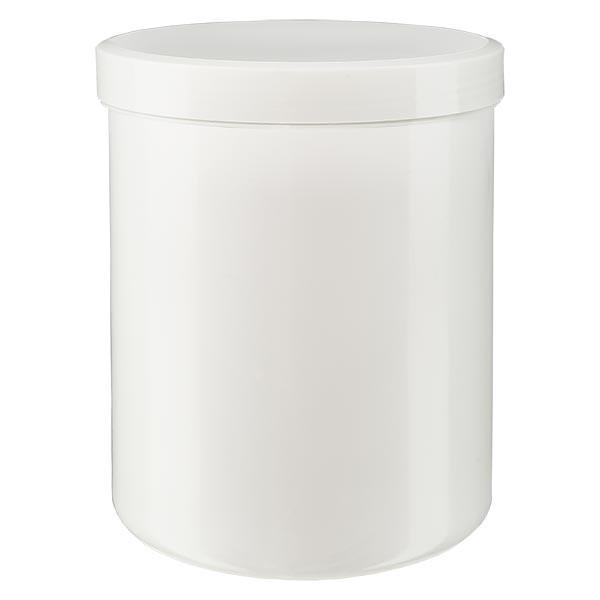 Pot à onguent blanc 1000 g avec couvercle blanc (PP)