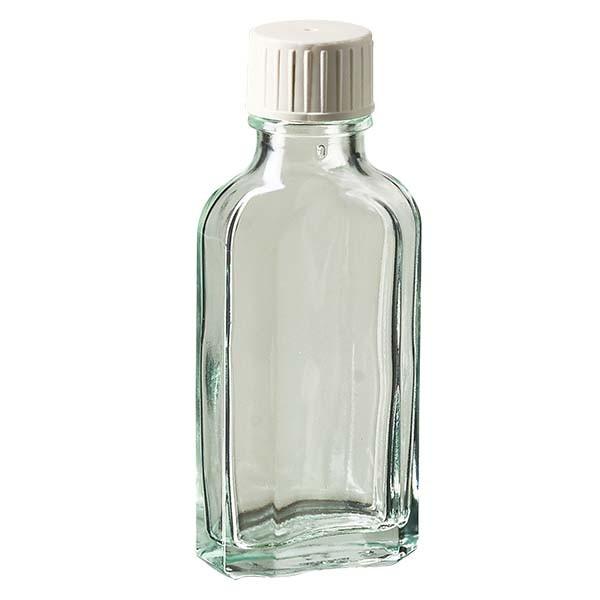 Flasque transparente de 50 ml au goulot DIN 22, avec bouchon à vis DIN 22 blanc et bague anti-gouttes