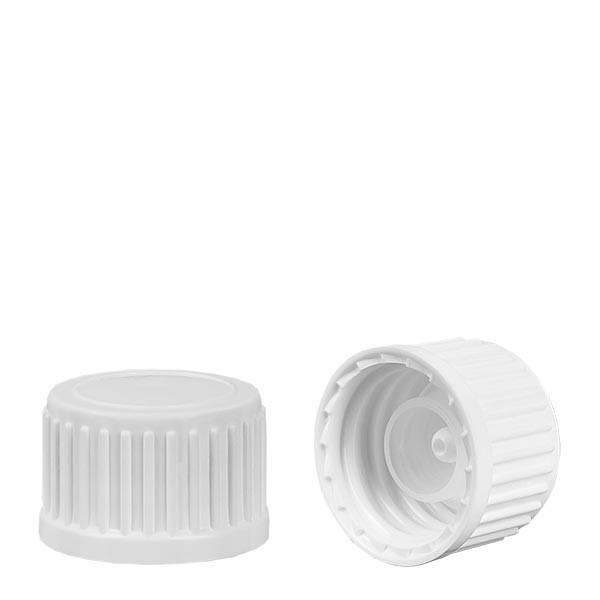 Bouchon à vis + anneau verseur pour globules, blanc 18mm st.