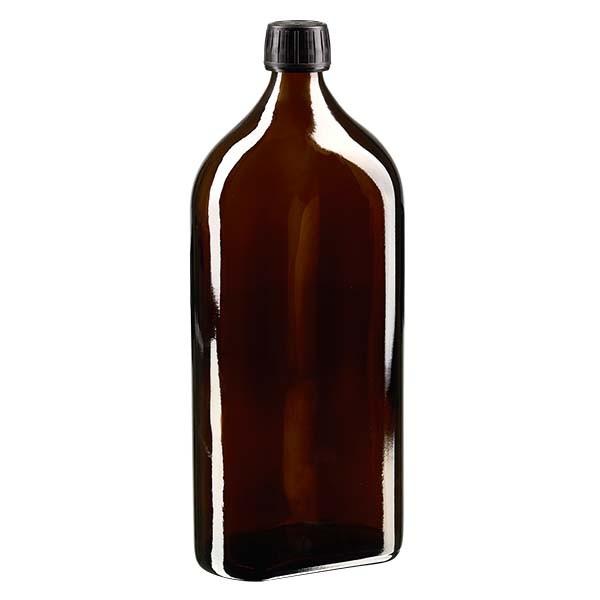 Flasque brune de 1 000 ml au goulot PP 28, avec bouchon à vis PP 28 noir, joint en PEE et système d'inviolabilité