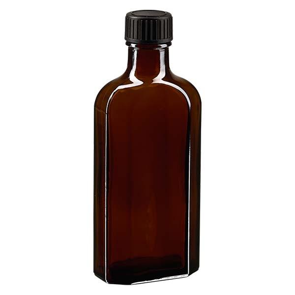 Flasque brune de 125 ml au goulot DIN 22, avec bouchon à vis DIN 22 noir et joint PEE