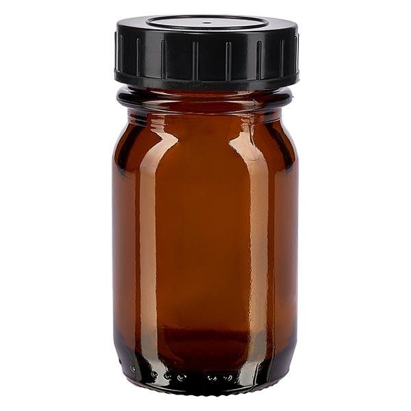 Bocal à col large en verre ambré 30 ml + couvercle à vis