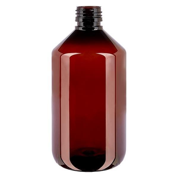 Flacon médical en PET 500 ml ambré, PP28 sans bouchon