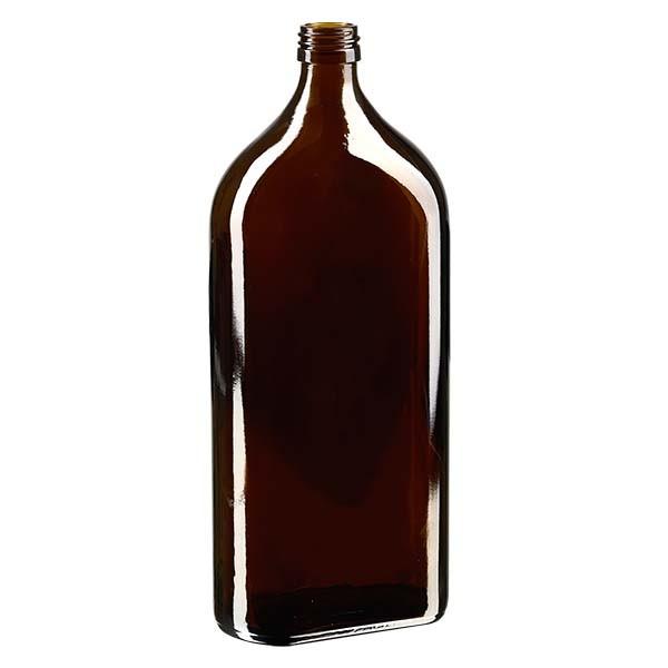 Flasque brune de 1 000 ml, au goulot PP 28