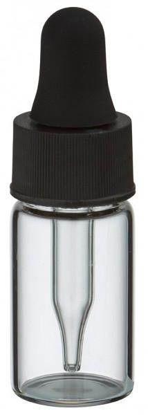 Mini flacon transparent de 3 ml, avec pipette compte-gouttes PL28 noire