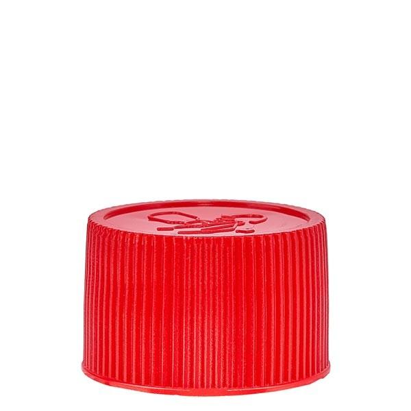 Bouchon à vis en PP rouge ND 25, sécurité enfants