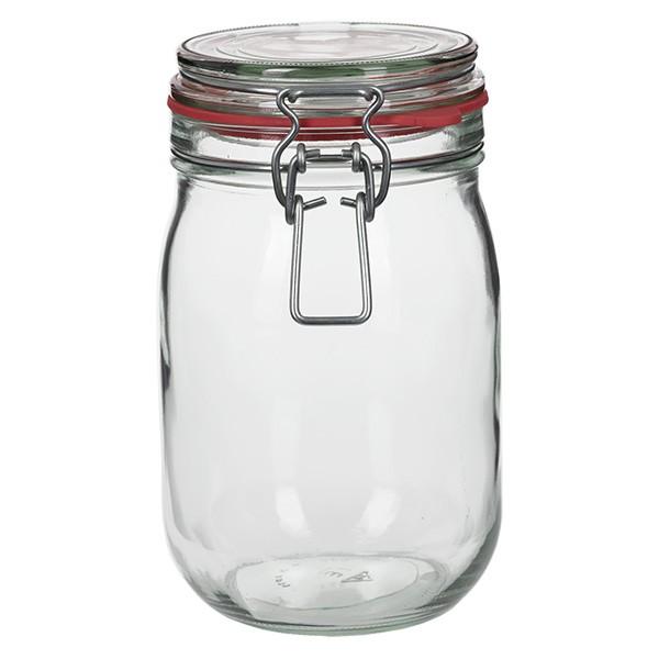 Bocal à armature / bocal rond de 1140 ml, convient à la pasteurisation