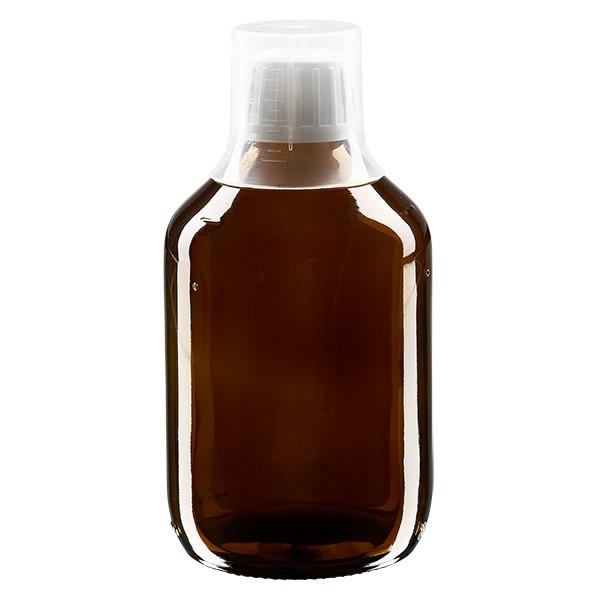 Flacon médical norme européenne de 300 ml, avec bouchon à vis blanc et gobelet doseur de 30 ml