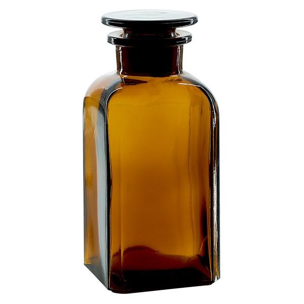 Flacon carré col large 350 ml + bouchon RIN, verre ambré
