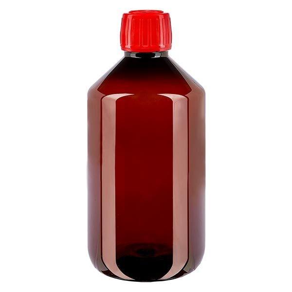 Flacon médical de 500 ml en PET, avec bouchon à vis rouge PP28