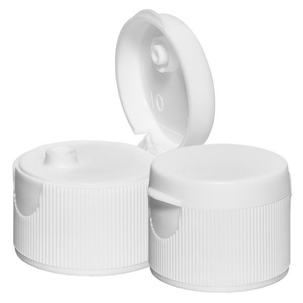 Bouchon à vis avec couvercle à charnière et dosage, blanc 28mm