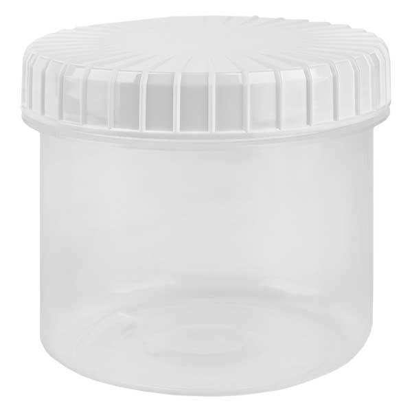 Pot en plastique transparent 135 ml + couvercle à vis blanc strié en PE, fermeture standard