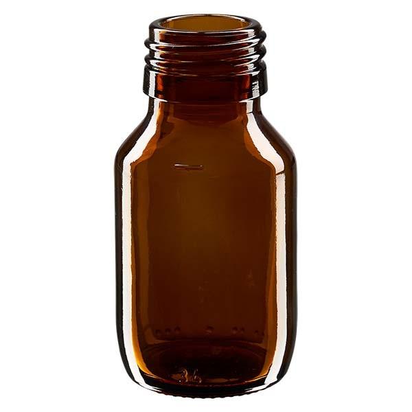 Flacon médical 50 ml couleur ambrée, PP 28