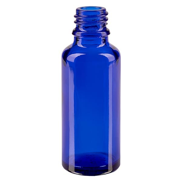 Flacon compte-gouttes pour pharmacie 30 ml DIN18 - verre bleu