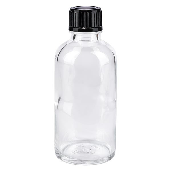 Flacon pharma. clair 50 ml bouch. à vis noir inviolable