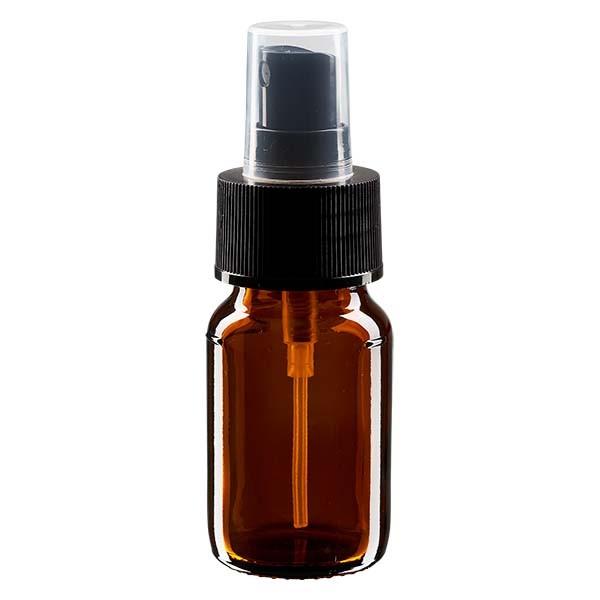 Flacon médical norme européenne de 30 ml avec spray noir GCMI 28/410 et couvercle transparent, standard