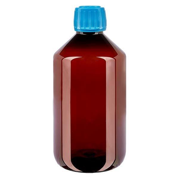 Flacon médical de 500 ml en PET, avec bouchon à vis bleu PP28
