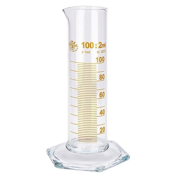 Éprouvette graduée 100 ml, forme basse et graduations marron, ISO 4788