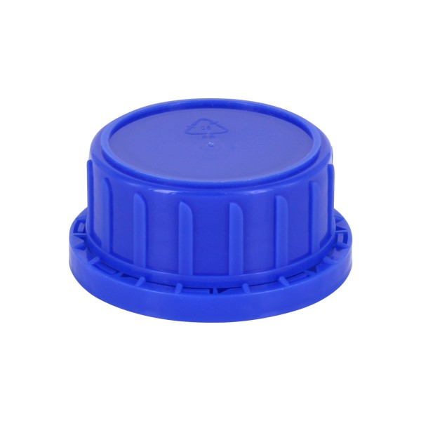 Bouchon à vis inviolable DIN 45 bleu avec insert en PEE, convient aux bouteilles à col large de 250 ml (article n° 1000002)