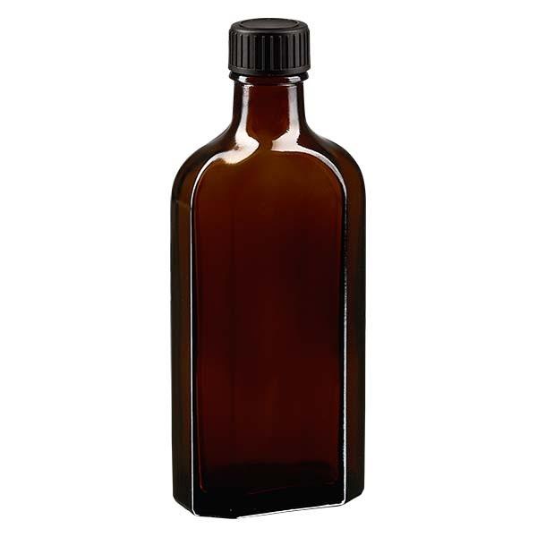 Flasque brune de 150 ml au goulot DIN 22, avec bouchon à vis DIN 22 noir et joint PEE