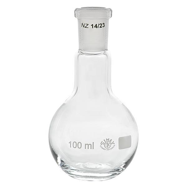Ballon à fond plat 100 ml à col étroit, en verre borosilicate avec rodage normalisé 14/23