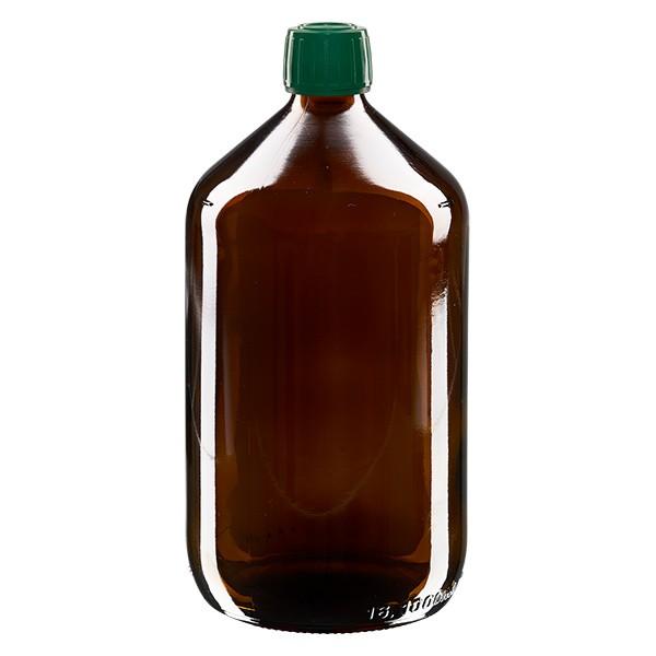 Flacon médical 1000 ml couleur ambrée avec bouchon verte