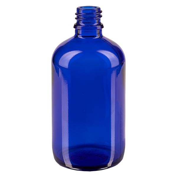 Flacon compte-gouttes 100 ml DIN18 - verre bleu