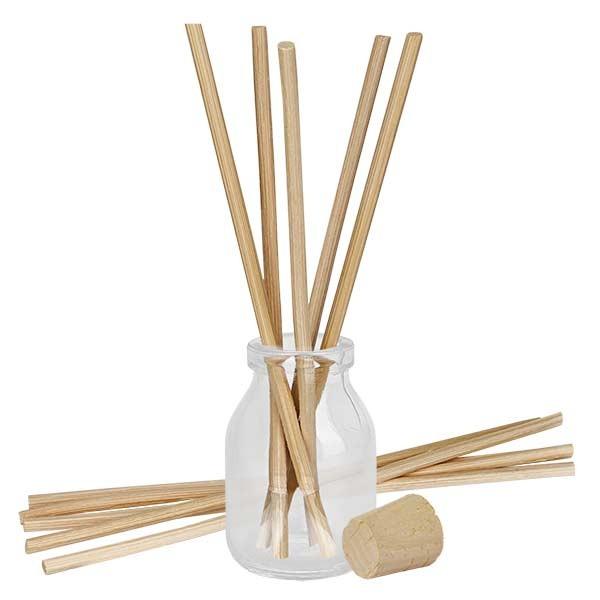 Flacon Round 50ml + 10 bâtons à parfum clairs + bouchon de liège