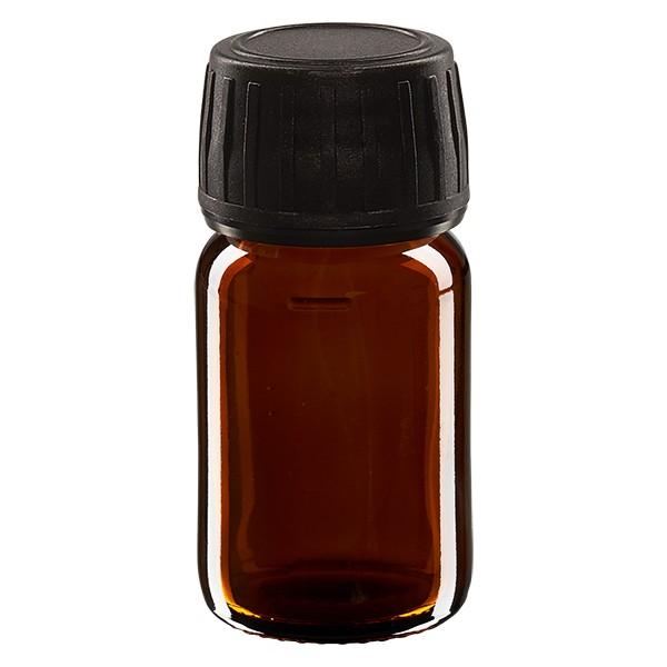 Flacon médical 30 ml couleur ambrée avec bouchon noir