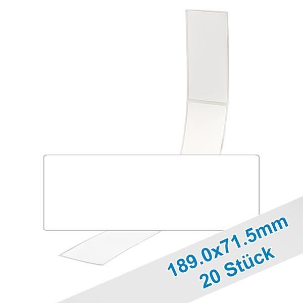20 étiquettes amovibles blanches, 71.5x189 mm