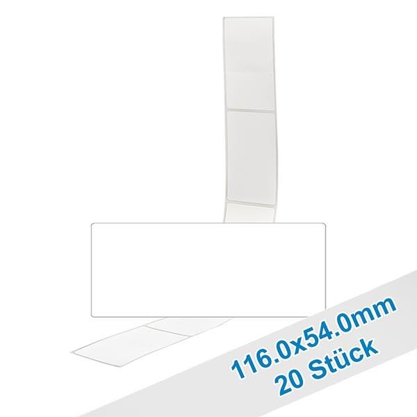 20 étiquettes amovibles blanches, 54x116 mm