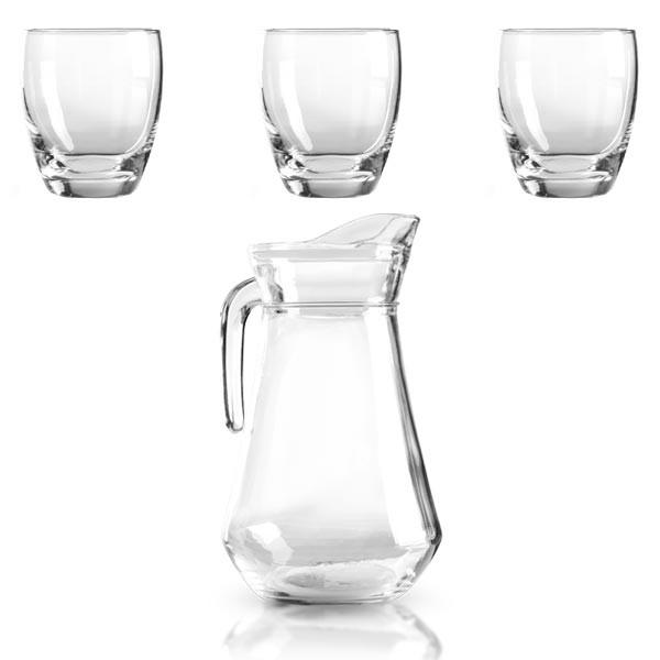 1x Glaskanne 1 Liter inkl. 3x Trinkgläser 0,3 Liter