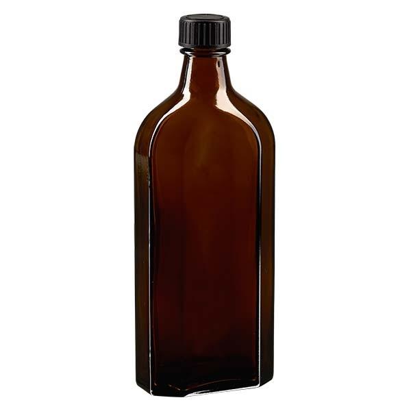 Flasque brune de 250 ml au goulot DIN 22, avec bouchon à vis DIN 22 noir et joint PEE