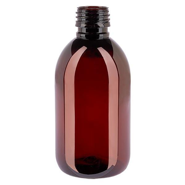 Flacon médical en PET 250 ml ambré, PP28 sans bouchon
