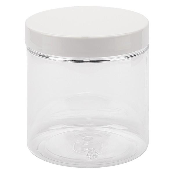 Pot à vis en PET clair 250 ml avec couvercle blanc