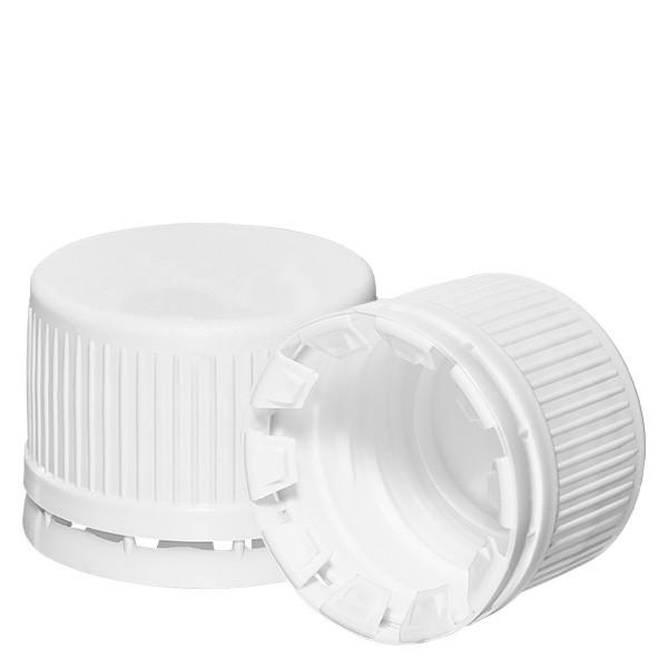 Capsule à vis blanche 28mm pour flacons norme euro + inviolabilité
