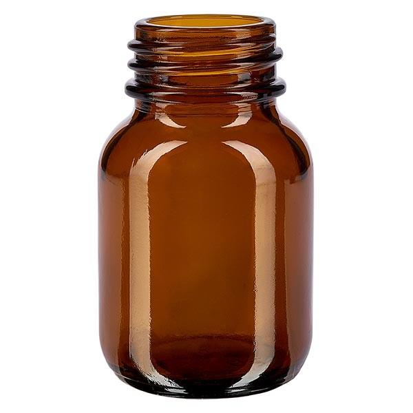 Bocal à col large en verre ambré 50 ml, goulot DIN 32, sans couvercle