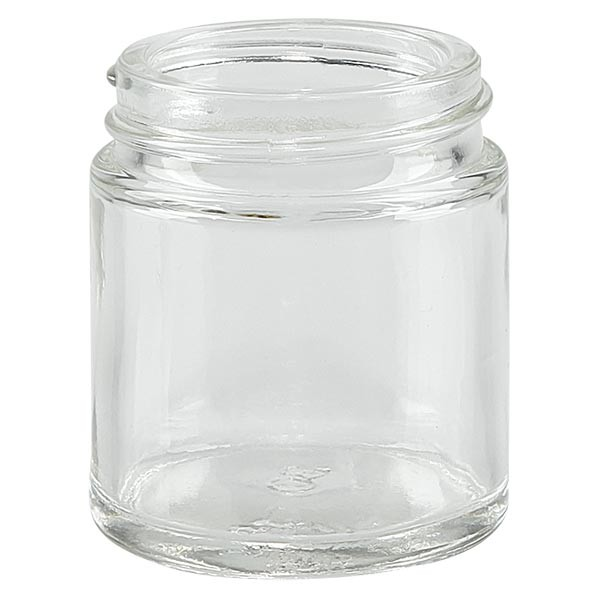 Pot en VERRE CLAIR 30 ml, filetage 38 mm / R3