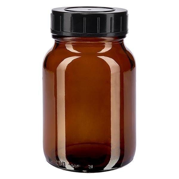 Bocal à col large en verre ambré 250 ml + couvercle à vis